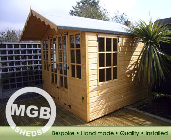 Quality sheds, timber buildings, bespoke service, garages, aviaries, tool sheds, potting sheds, MGB Sheds - Evesham